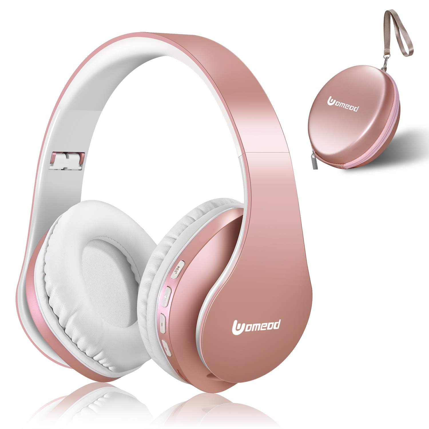Bluetooth Headphones Wireless, Uomeod Over Ear Stereo Headset V5.0 with Microphone, Foldable & Lightweight, Support Tf Card MP3 and FM Radio for Cellphones Laptop TV (Rose Gold)