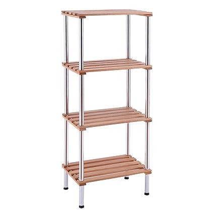 Giantex 4 Tiers Wood Slat Storage Display Rack Shelves Steel Frame Home  Office Furniture (4 Tiers)