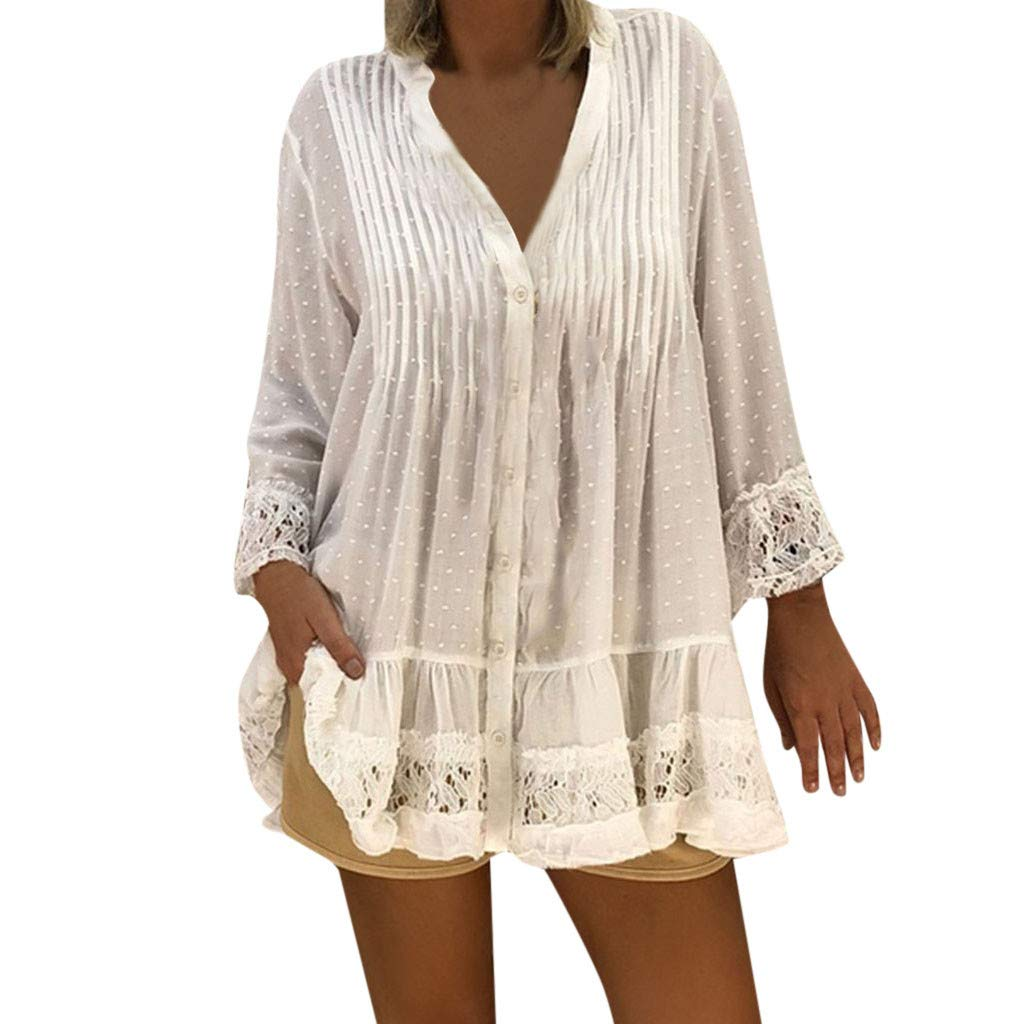 LanWi Women V Neck Caftan Boho Beach Cover Cotton Linen Print Half Sleeve Dress Loose Casual Plus Size Blouse by LanWi