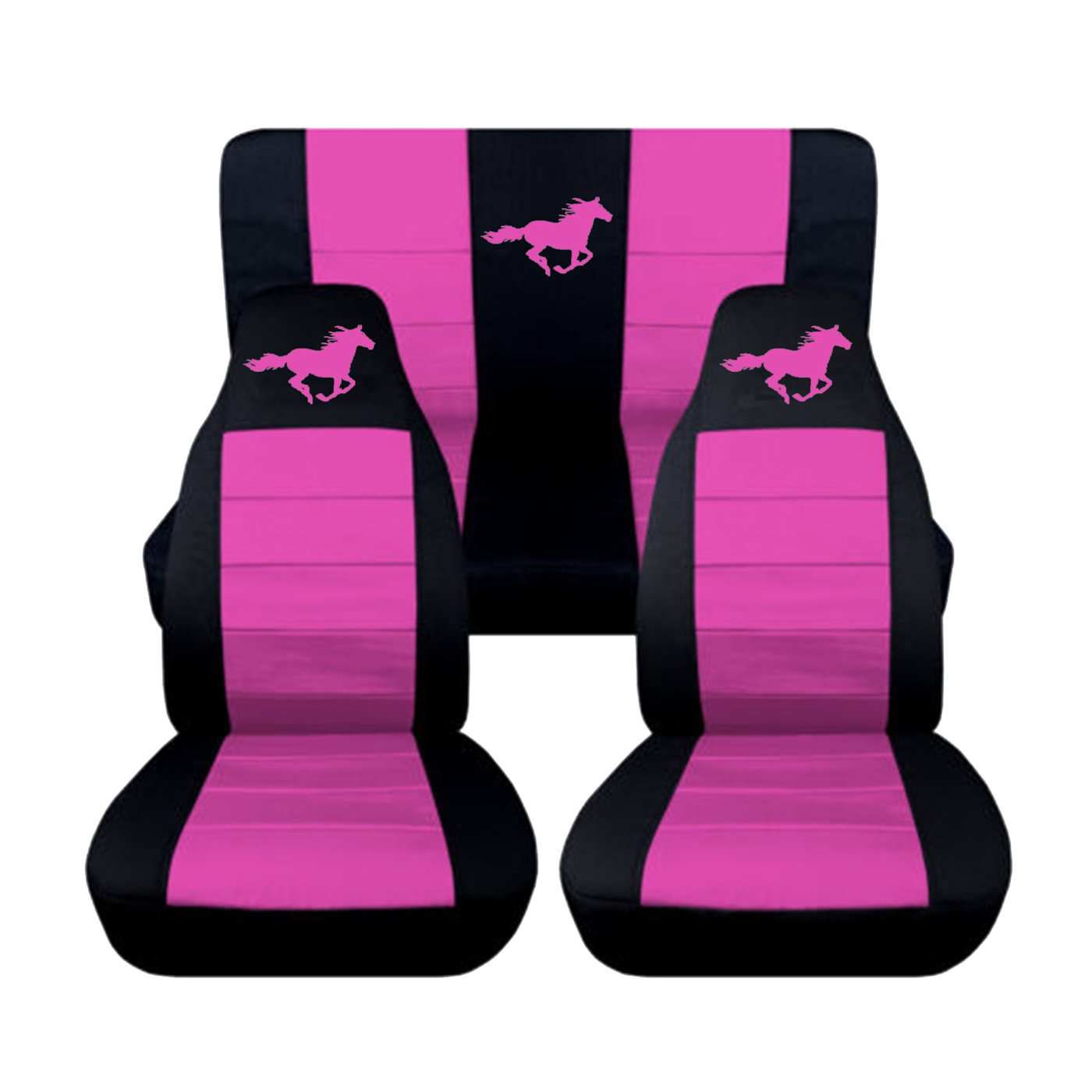 8 Color Options Coupe, Black and Charcoal 2005 2006 2007 Ford Mustang Front and Rear Runnng Horse Seat Covers
