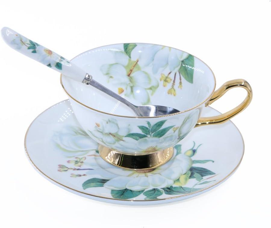 ufengke 8oz Tasse /à Caf/é en Porcelaine Bleue Fine avec Soucoupe,Fleurs Color/ées,Grue Blanche Tasse /à Th/é et Soucoupe en Porcelaine