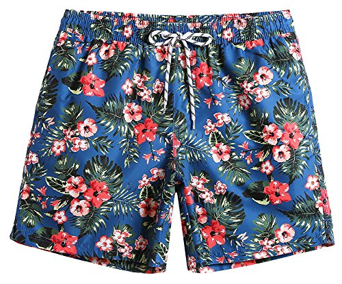 Printed Swim Trunks - MaaMgic Mens Quick Dry Floral Swim Trunks With Mesh Lining Swimwear Bathing Suits 181118537, Red, Small(Waist-28