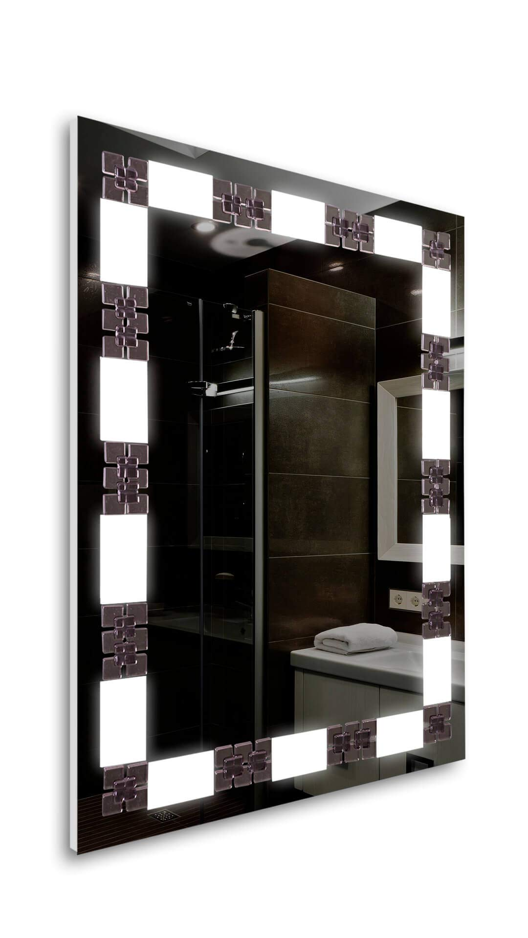 Tilebay LLC Villa Led Lighted Mirror | Bathroom Mirror | Led Make-up Mirror | Glass Accents| 3 Switch Types Available (31x23, Remote Control)