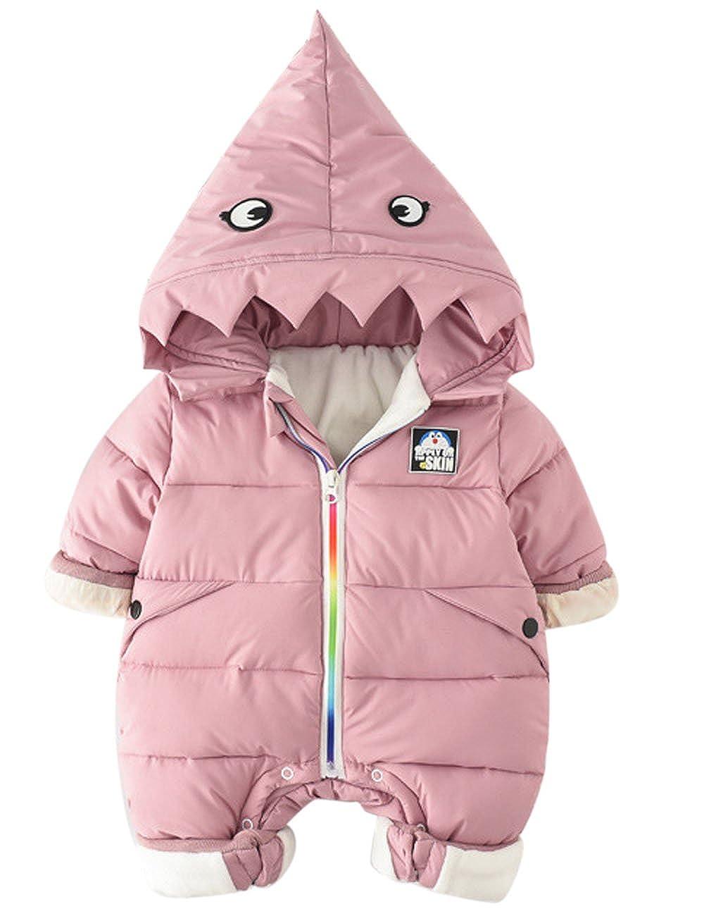 ARAUS Pagliaccetto Con Cappuccio Da Bimbo Caldo Bambina Romper Giubbino Baby Tutina Cotone Inverno 0-12 Mesi 0330P10-P-80