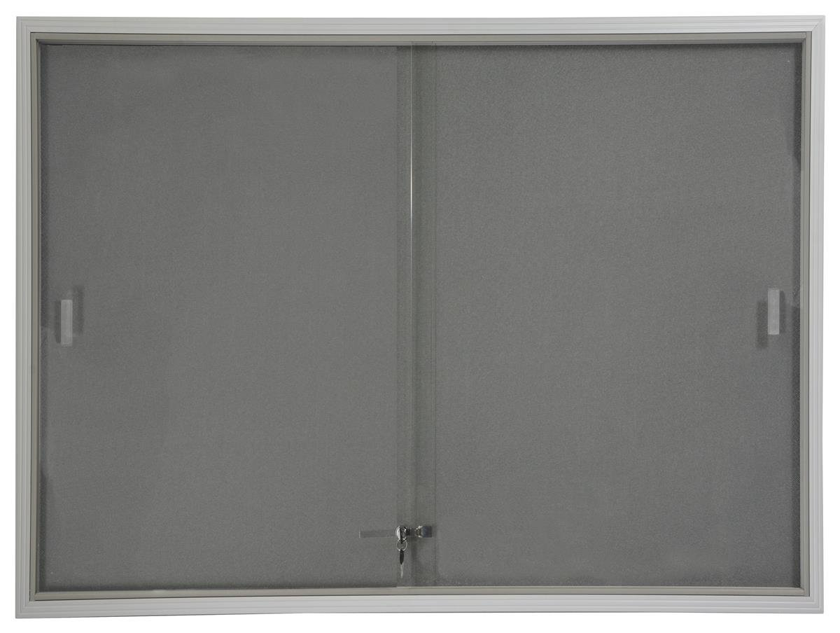 Displays2go 48 x 36 Inches Indoor Bulletin Board with Gray Fabric Backing, 4 x 3 Inches Enclosed Message Board with Locking, Sliding Glass Doors, Aluminum (FBSD43SVLG) by Displays2go