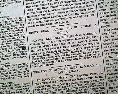 BLOODY BENDERS Cherry Vale KS Kansas Murders Corpses DISCOVERY 1873 Newspaper THE WORLD, New York City, May 9, - Cherry Vale
