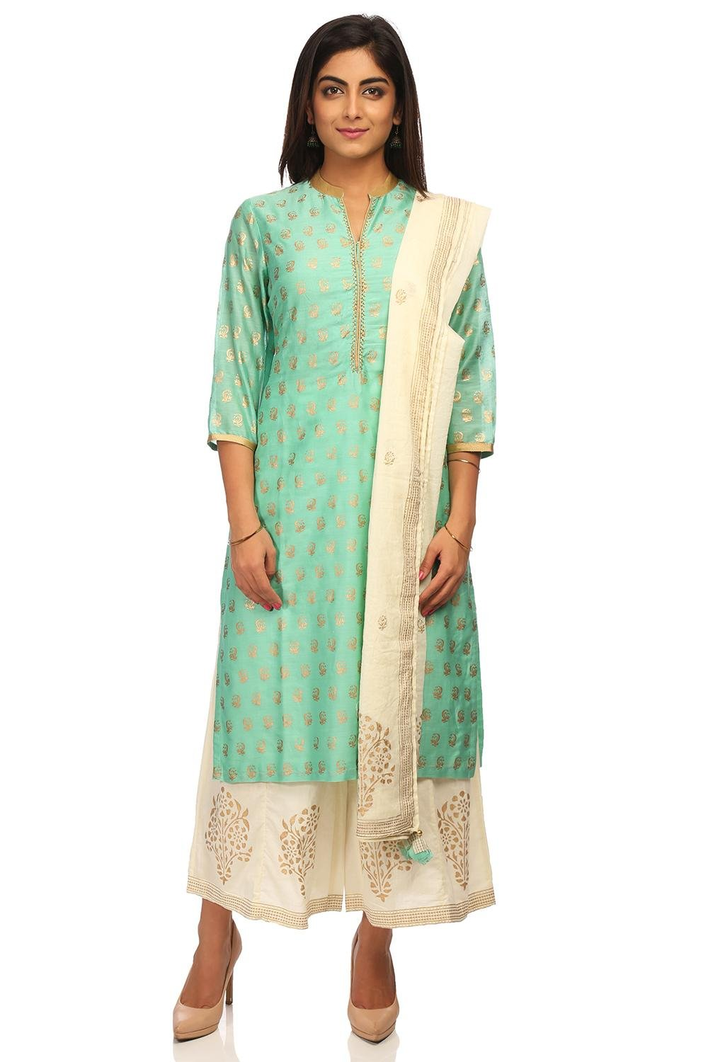 BIBA Women's Sea Green Straight Cotton Silk Suit Set Size 32