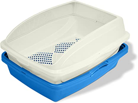 Amazon.com: Van Ness CP5 Sifting Cat Pan/Litter Box with Frame, Blue/Gray,19
