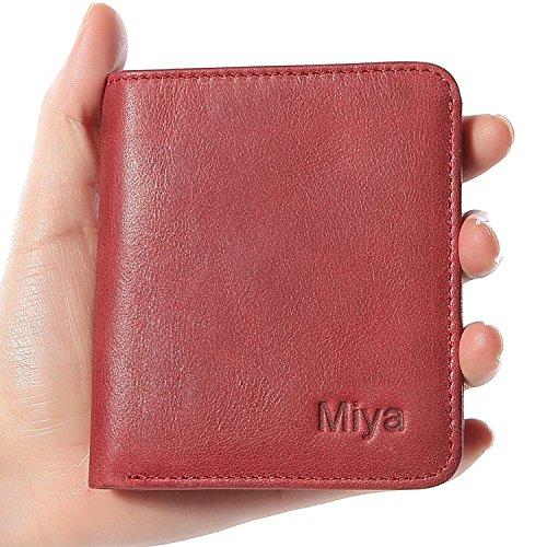 FlyHawk RFID Blocking Genuine Leather Wallets for Men Biford Mini&Slim Size Wallet (Red Mens Wallet)