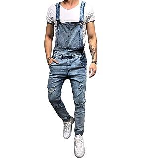 ca3dec553223 lisenraIn Men s Denim Bib Overalls Fashion Ripped Jeans Slim Jumpsuit with  Pockets