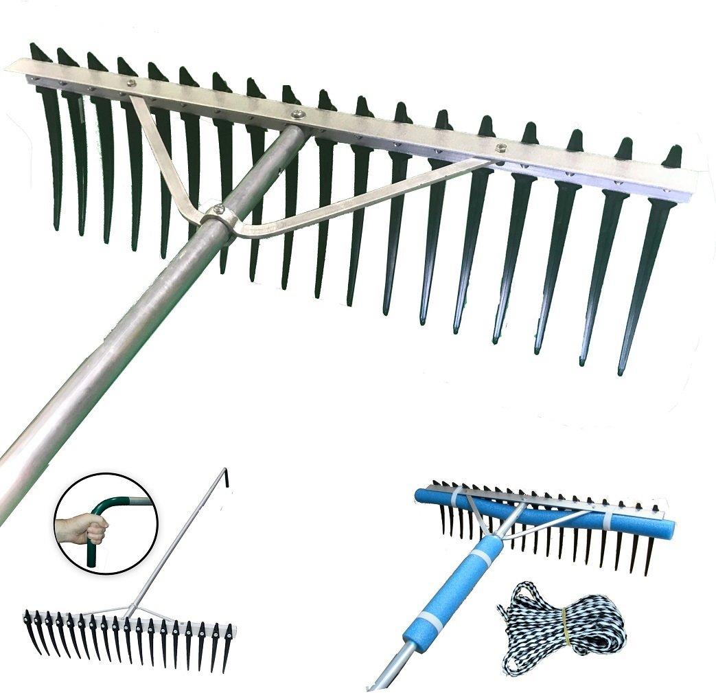 Shore-Tech Industries Super Long/Wide Lake Weed, Beach & Landscaping Rake - (7ft handle - No Float Kit) by Shore-Tech Industries