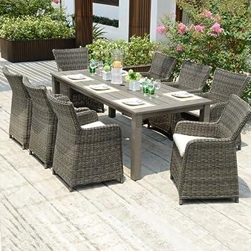 amosa Outdoor Möbel 8 Sitz Grau Durawood Garten Esstisch Set: Amazon ...