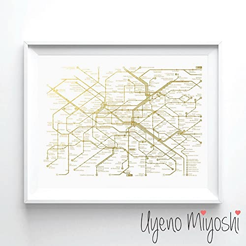 Amazoncom Paris Metro Map I Gold Foil Art Print Paris France Metro - Paris metro map print