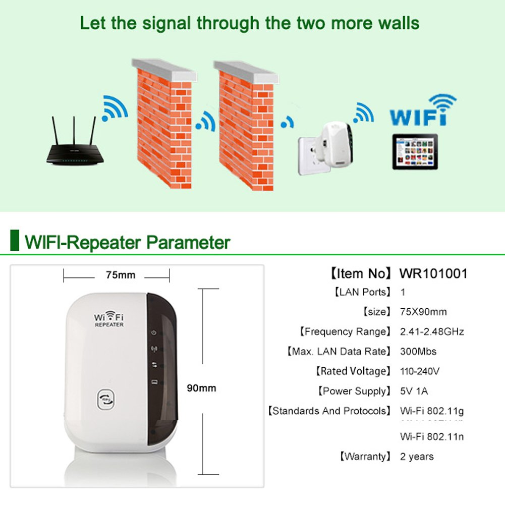 Wi-Fi Range Extender,Per Wireless Repeater 2.4Ghz 300Mbps Range 50M Internet Signal Booster High Transmission Speed With Ethernet Port-Black
