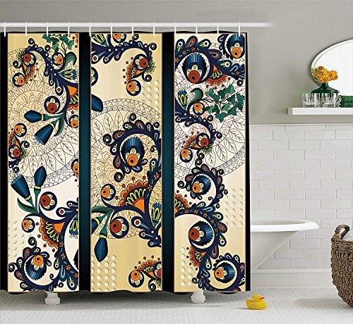 TYANG Abstract Shower Curtain by,Paisley Batik Floral Design Ethnic African Hand Drawn Ornament Artwork,Fabric Bathroom Decor Set with Hooks,Navy Blue Orange Green 3672 inches ()