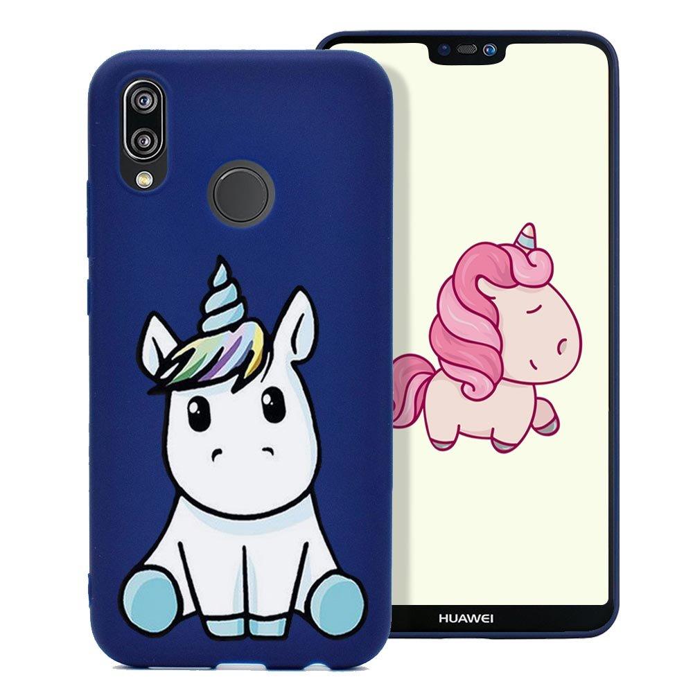 Cover Huawei P20 Lite, Custodia Stampa Unicorno Bello Ultra Sottile Morbido Gomma Silicone TPU Fresco Colore Caramella Tinta Unita Case Protettiva Copertura - Rosso Fine Finet
