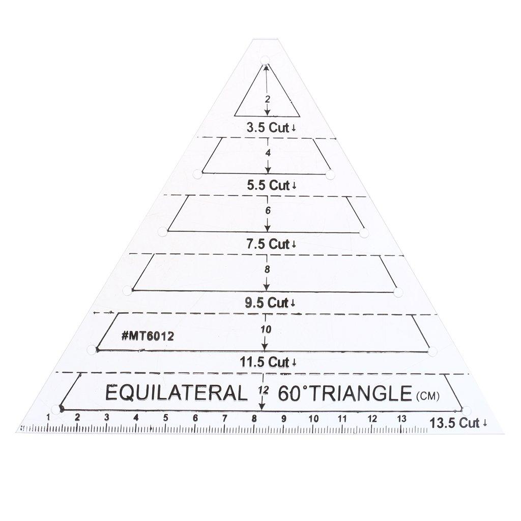 F Fityle Righello Ruler Marcatura Equilaterale Triangolo Taglia Artigianato Cucito Patchwork Acrilico Multicolori 13, 5cm