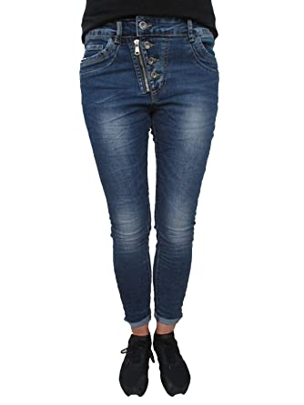7643bddf2e83 Karostar Stretch Baggy Boyfriend Jeans Schwarze Seitenstreifen ...
