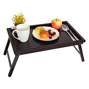 ZHUOYUE Bamboo Bed Tray Table - Lap Tray Table for Breakfast in Bed, Dinner Serving Food Eating Tray Floor Table