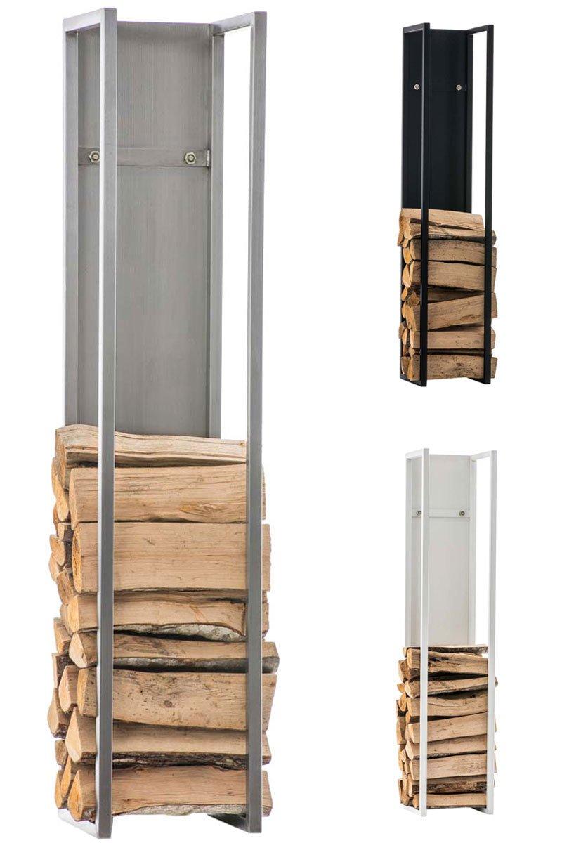 CLP Scaffale Legnaia per Camino SPARK - Portalegna Interno per Caminetto I Scaffale per Legna Verticale con Tasselli Antigraffio I PortaLegna Design, Alt 80 - 180 cm 25 x 25 x 140 cm Acciaio inox 25 x 25 x 80 cm