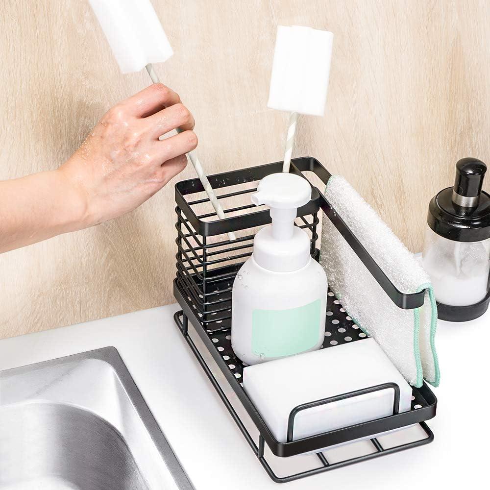 Oriware Organizador Sink Caddy Soporte para Utensilios de Cocina para el Fregadero Acero Inoxidable 25 x 15 x 15 cm Negro