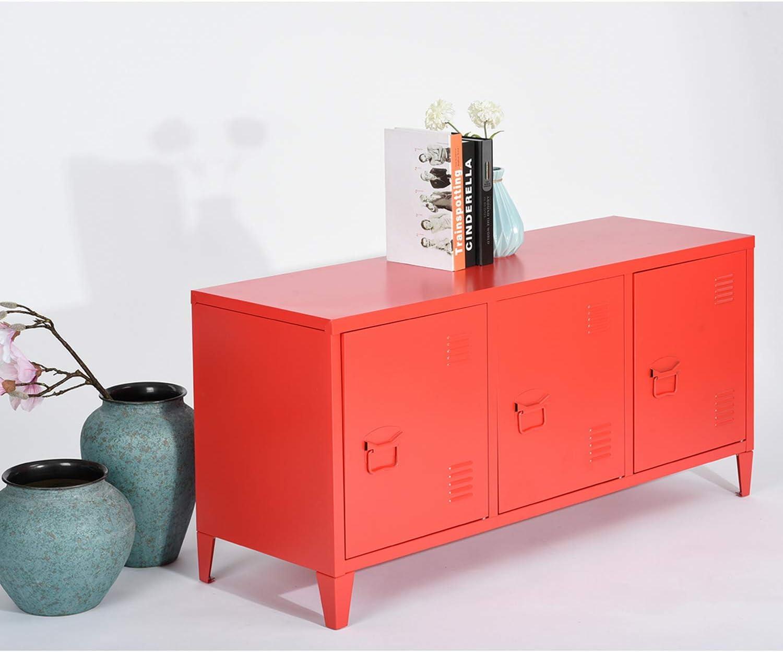 HOUSE IN BOX.COM Armoire de Rangement en Métal Mordern Industriel Salon Meuble TV Buffet de Classement 120cm 3 Portes Supporter (Rouge)