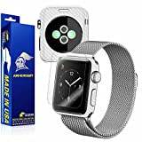 ArmorSuit MilitaryShield - Apple Watch 38mm (Series 2) White Carbon Fiber Skin Back Protector Film + Anti-Bubble HD Clear Screen Protector For Apple Watch 38mm (Series 2)