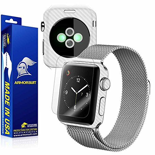 ArmorSuit MilitaryShield - Apple Watch 38mm (Series 2) White Carbon Fiber Skin Back Protector Film + Anti-Bubble HD Clear Screen Protector For Apple Watch 38mm (Series 2) by ArmorSuit