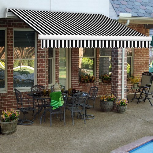 Awntech 8-Feet Maui-LX Right Motor with Remote Retractable Acrylic Awning, 84-Inch Projection, Black/White ()