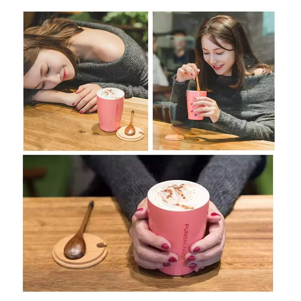Al aire libre doble pared taza de café de acero inoxidable taza de leche de vacío reutilizable con mango de madera cuchara-fácil de limpiar para acampar BBQ ...
