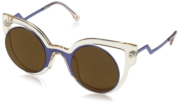 849b7e255952 Amazon.com: Fendi Women's Round Cutout Sunglasses, Blue Pink/Brown ...