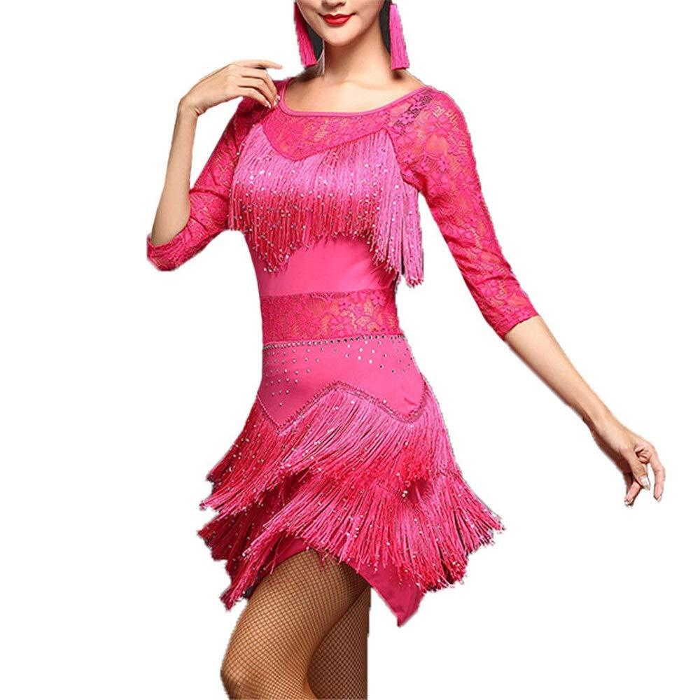 Rose Rouge KANGJIABAOBAO Robe de Danse Femme Femmes Paillettes Paillettes embellies Frange Gland Flapper Robe de Danse Latine Demi-Manche Dentelle Florale Salle de Bal Dancewear Competition Robe de Danse X-Large