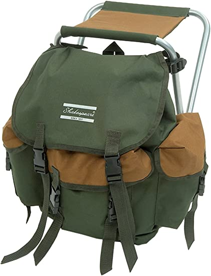 Brown//Green Shakespeare Folding Stool With Back Pack 100 Kg