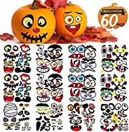 Halloween Pumpkin Decorating Stickers, Jack-O-Lantern Face Decals Kit for Pumpkins and Squashes, 60 Cute Expre
