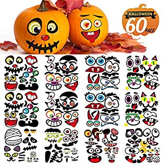 Halloween Pumpkin Decorating Stickers, Jack-O-Lantern Face Decals Kit for Pumpkins and Squashes, 60 Cute Expressions Crafts Stickers Halloween Treat Party Supplies Idea Gifts for Kids