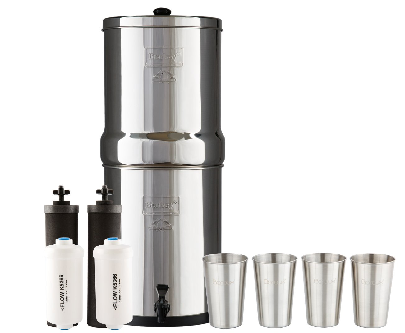 Royal Berkey Water Filter System w/ 2 Black Purifier Filters (3 Gallons) Bundled w/ 1-set of Fluoride Filters (PF2) and 1-set of 4 Boroux 12 oz Stainless Steel Cups for drinking the best tasting water by Berkey (Image #1)