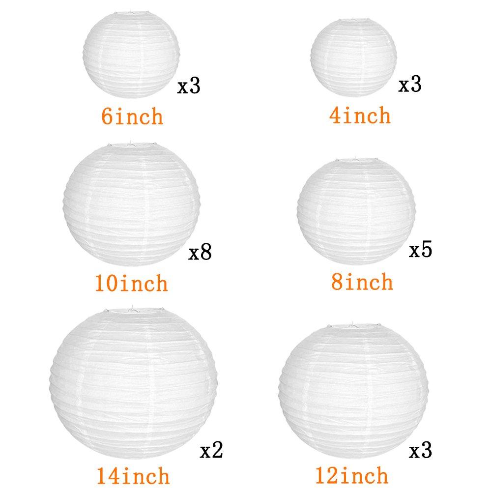 24/sachets papier blanc lanternes avec Tailles assorties pour d/écoration de mariage r/éception Crafts lumi/ères de f/ête et DIY lanternes 14PCS multicolore