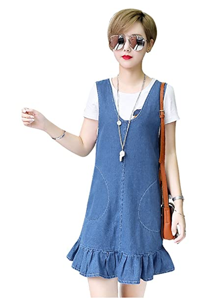 TOPJIN Women\'s Loose Plus Size One Piece Denim Suspender Overall Dresses  Jeans Jumper Dress