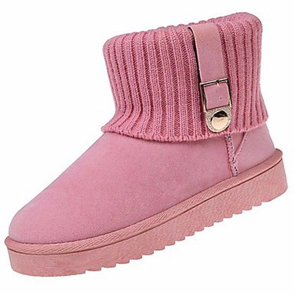 ZHUDJ Zapatos De Mujer Otoño Invierno La Nieve Botas Botas Planas Botas De Tacón Ronda Toe Mid-Calf For Casual Caqui Rubor Rosa Gris Negro US8.5 / UE39 / UK6.5 / CN40|Pink