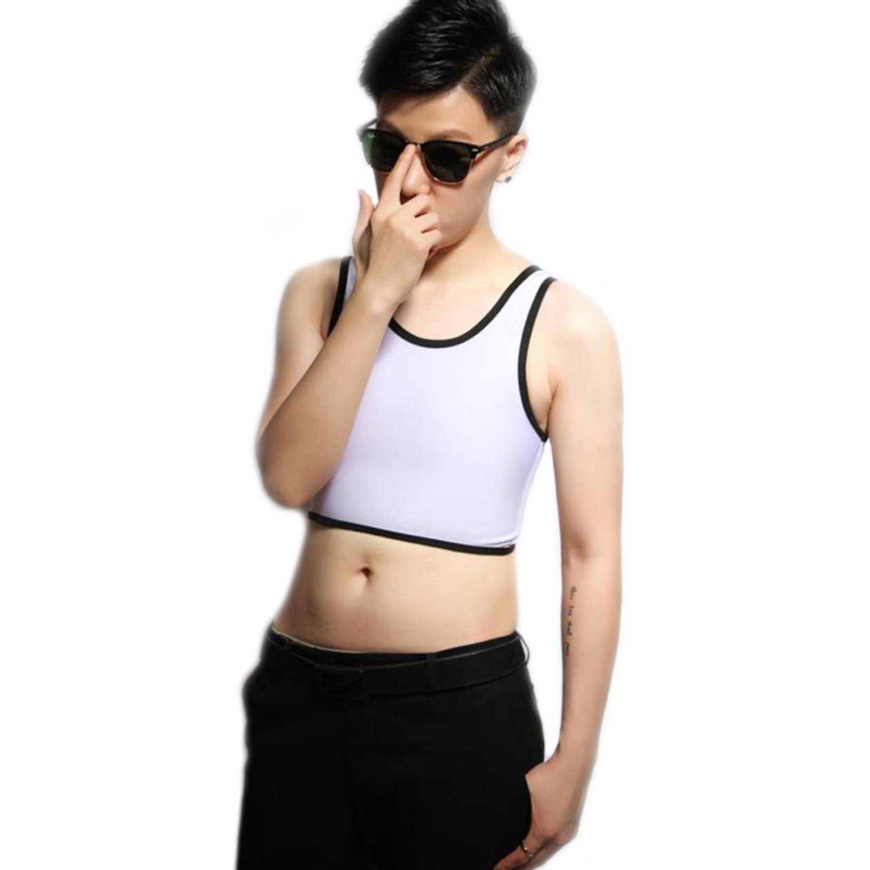 BaronHong Tomboy Trans Lesbian Mesh Chest Binder Corsetto Plus Size Short Canotta Colorata