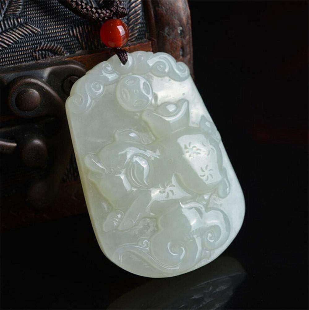 aligeya y Tian Yuqing Blanco Jade Tallado Antiguo Zodiaco 12 Cerdo Zodiac Jade Colgante de Jade