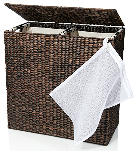Designer Wicker Laundry Hamper with Divided Interior and Laundry Basket Bags - Espresso Water Hyacinth Hamper with Lid, Includes Two Removable Laundry Liners and Delicates Mesh Laundry Bag - Narrow 2 Section Storage