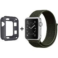 SYTHOO Correa Loop Deportiva de Nylon Tejido para Apple Watch Series 38mm 3/2/1 (Caqui Militar, 42mm)