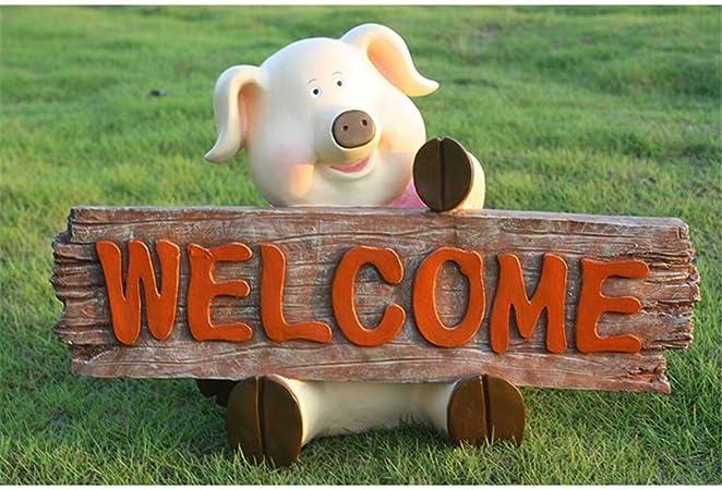 LXUA Decoración de jardín Cute Pink Pig Garden Cartel de Bienvenida Madera Jardín Accesorios Miniatura Estatua Resina Animal Estatuilla Pequeñas esculturas Decoración del Patio Trasero: Amazon.es: Hogar
