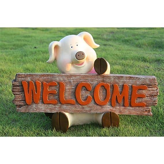 Cartel de bienvenida Accesorios de jardín de madera Estatua ...