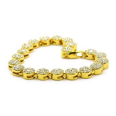Gahrchian Diamond Bracelet Man Woman Wrist Cuff Bracelets for Women Girl Sister Mother Friends Teen Jewelry Gift (Gold 1): Clothing