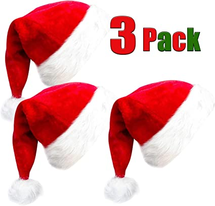 "Red /""Merry Christmas/"" Soft Velvet Adult Santa Claus Hat w//White Cuff /& Pom Pom"