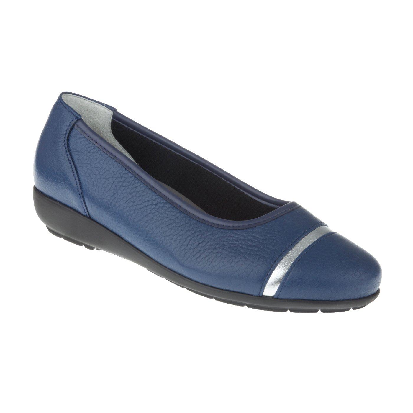 Tessamino Damen elegant Ballerina aus Hirschleder   elegant Damen   Weite H   für Einlagen Blau 22a358