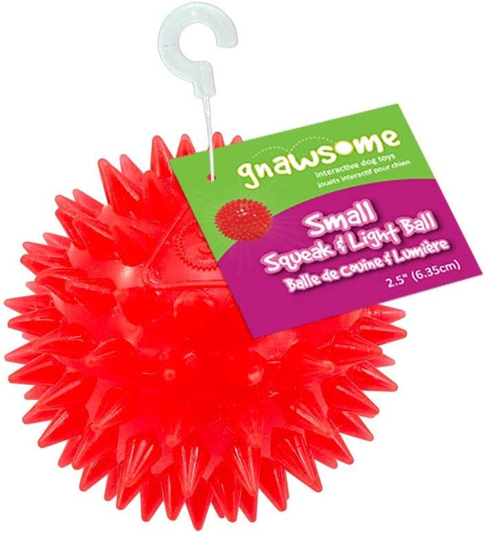 "Gnawsome 2.5"" Spiky Squeak & Light Ball Dog Toy - Small, Cleans teeth and Promotes Dental and Gum Health for Your Pet, Colors will vary"