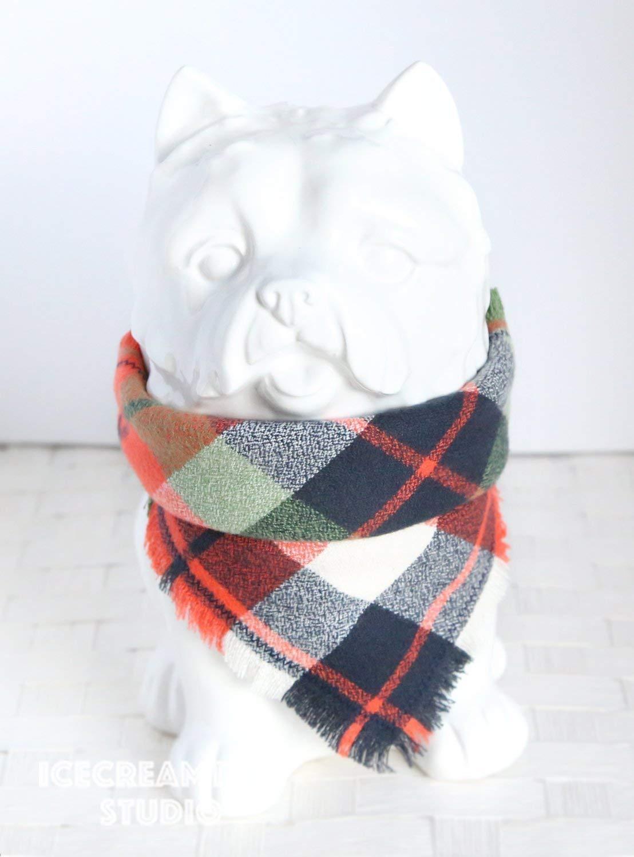 Adventure Orange Plaid Bandana - Tie on Classic Flannel Pet Bandana Scarf, Pet Fashion Scarf, Dog Bandana Scarf, Cat Bandana Scarf
